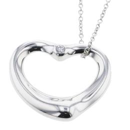 Tiffany & Co. Open Heart Silver Diamond Pendant Necklace 297268