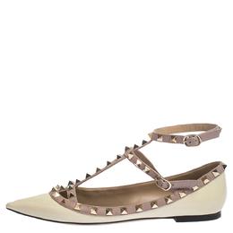 Valentino Cream/Beige Patent Leather Rockstud Ballet Flats Size 38 297840