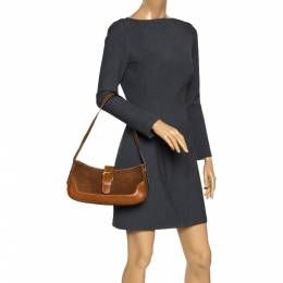Aigner Brown Suede and Leather Shoulder Bag 298123