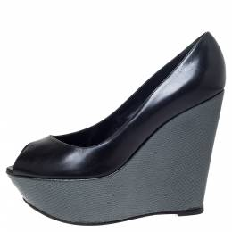 Sergio Rossi Black/Grey Leather Peep Toe Platform Wedge Pumps Size 37 298203
