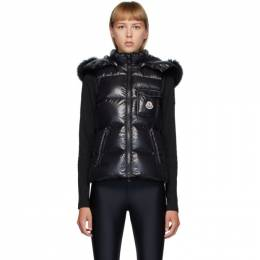 Moncler Black Down and Fur Balabio Vest F20931A54901C0064