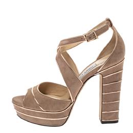 Jimmy Choo Beige Suede April 120 Platform Ankle Strap Sandals Size 37 298216