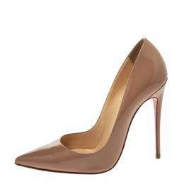 Christian Louboutin Beige Patent Leather So Kate Pumps Size 37 298221