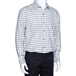 Tom Ford Black & White Checked Cotton Long Sleeve Shirt XL 298111