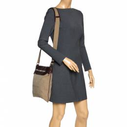 Prada Beige/Brown Logo Jacquard Fabric and Leather Messenger Bag 298379
