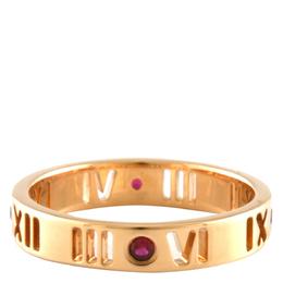 Tiffany & Co. Atlas Pierced Narrow 18K Rose Gold Ruby Ring Size 50 298305