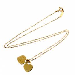 Tiffany & Co. Return to Mini Double Heart Tag 18K Yellow Gold Pendant Necklace 298309