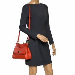 Dolce&Gabbana Orange Leather Medium Miss Sicily Top Handle Bag 299125