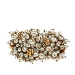 Ch Carolina Herrera Crystal Faux Pearl Gold Tone Wide Bracelet 299114