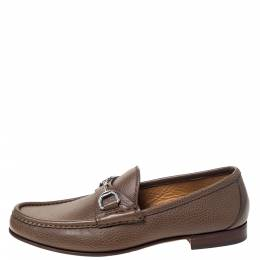Gucci Brown Leather 1953 Horsebit Loafers Size 38 299115