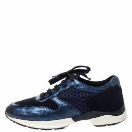 Tod's Metallic Blue Leather and Mesh Fabric Sports Sneakers Size 38 299112
