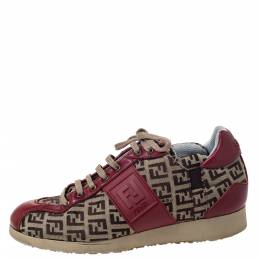 Fendi Zucca Beige Canvas And Red Leather Lace Up Sneakers Size 36 298539