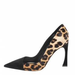 Dior Black/Brown Leopard Print Calfhair and Suede Songe Pointed Toe Pumps Size 38.5 299076