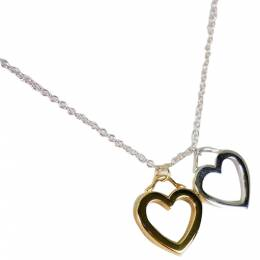Tiffany & Co. Twin Heart 18K Yellow Gold Silver Pendant Necklace 298259