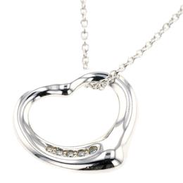 Tiffany & Co. Open Heart Silver Diamond Necklace 298278
