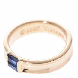 Tiffany & Co. Stacking Sapphire 18K Yellow Gold Ring Size 49 298286
