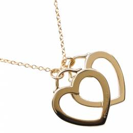Tiffany & Co. Double Heart 18K Yellow Gold Pendant Necklace 298268