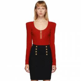 Balmain Red Diamond Knit Long Sleeve Bodysuit UF10959K110