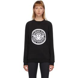 Balmain Black and White Flocked Medallion Sweatshirt UF13691I498