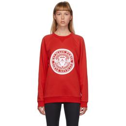 Balmain Red and White Flocked Medallion Sweatshirt UF13691I498