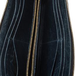 Miu Miu Deep Green Matelasse Leather Continental Zip Wallet 298364