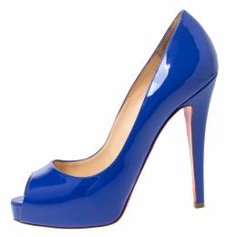 Christian Louboutin Blue Patent Leather Peep Toe Very Prive Pump Size 37 298532