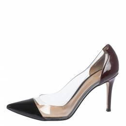 Gianvito Rossi Black/Burgundy Patent And PVC Plexi Pumps Size 38.5 298501