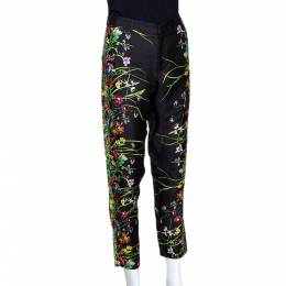 Gucci Black Floral Print Silk Tapered Pants S 299288