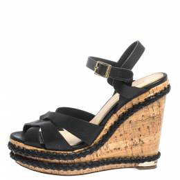 Paloma Barcelo Black Strappy Leather Ankle Strap Platform Cork Wedge Sandals Size 37 299524