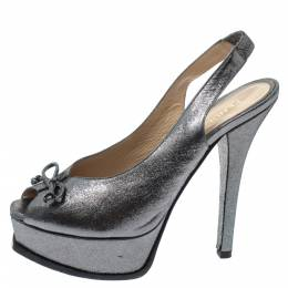 Fendi Grey Lame Fabric Fendista Bow Peep Toe Slingback Platform Pumps Size 39 298019