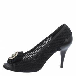 Chanel Black Woven Tweed Crystal Embellished Camelia Peep Toe Pumps Size 38 299519
