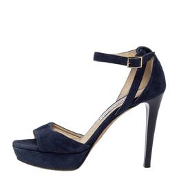 Jimmy Choo Blue Suede Leather April Cross Strap Platform Sandals Size 38.5 299191