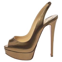 Christian Louboutin Metallic Bronze Leather Lady Peep Toe Platform Slingback Sandals Size 37.5 299505