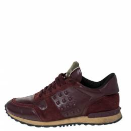 Valentino Burgundy Leather and Suede Rockstud Sneakers Size 42 299183