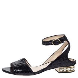 Nicholas Kirkwood Black Sequin Embellished Fabric Casati Pearl Ankle Strap Sandals Size 37.5 299162