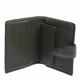Bottega Veneta Green Snakeskin Flap French Wallet 299408