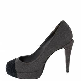 Chanel Grey/Black Glitter Suede CC Cap Toe Platform Pumps Size 37 299405