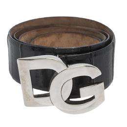 Dolce&Gabbana Black Leather Logo Buckle Belt 95CM 299377