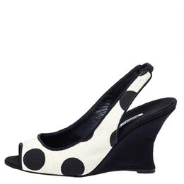 Manolo Blahnik Black/White Canvas Wedge Slingback Sandals Size 38 299083