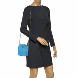 Dolce&Gabbana Blue Leather Square Miss Glam Crossbody Bag 299151