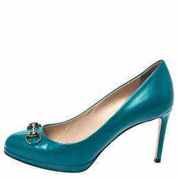 Gucci Turquoise Green Leather Horsebit Pumps Size 36.5 299093