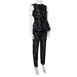 Ch Carolina Herrera Black Polka Dot Peplum Top & Pant Set XS 299146