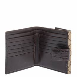 Gucci Beige/Ebony GG Canvas Studs Bamboo Bar Compact Wallet 298361