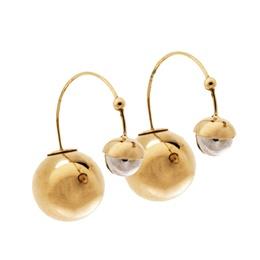 Dior Metallic Faux Pearl Two Tone Threaded Hoop Earrings 297948
