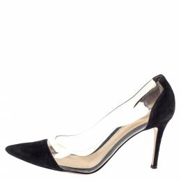 Gianvito Rossi Black Suede Leather And PVC Plexi Pointed Toe Pumps Size 39.5 299220