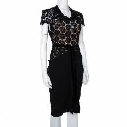 Roland Mouret Black Crepe & Lace Draped Harmon Dress M 299221
