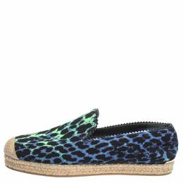 Stuart Weitzman Tricolor Printed Canvas Espadrille Loafers Size 38 299542