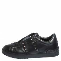 Valentino Black Leather Rockstud Untitled 11 Low Top Sneakers Size 40 299545