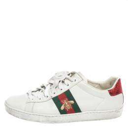 Gucci White Leather Ace Embroidered Bee Low Top Sneakers Size 36 297207