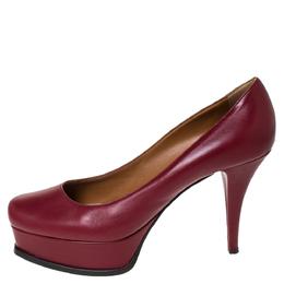 Fendi Burgundy Leather Logo Platform Pumps Size 41 299440